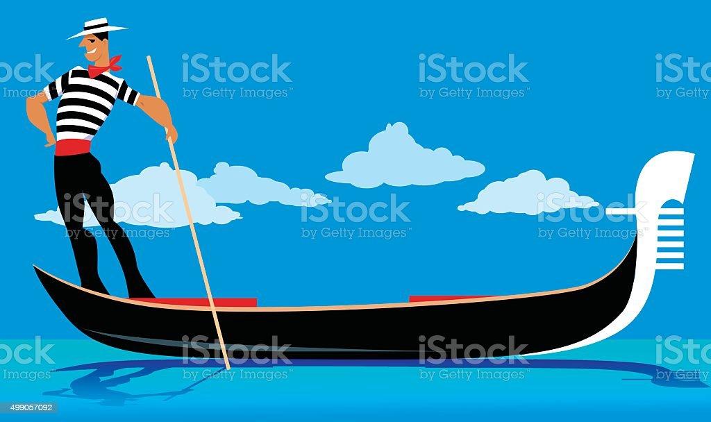 Venetian gondola vector art illustration
