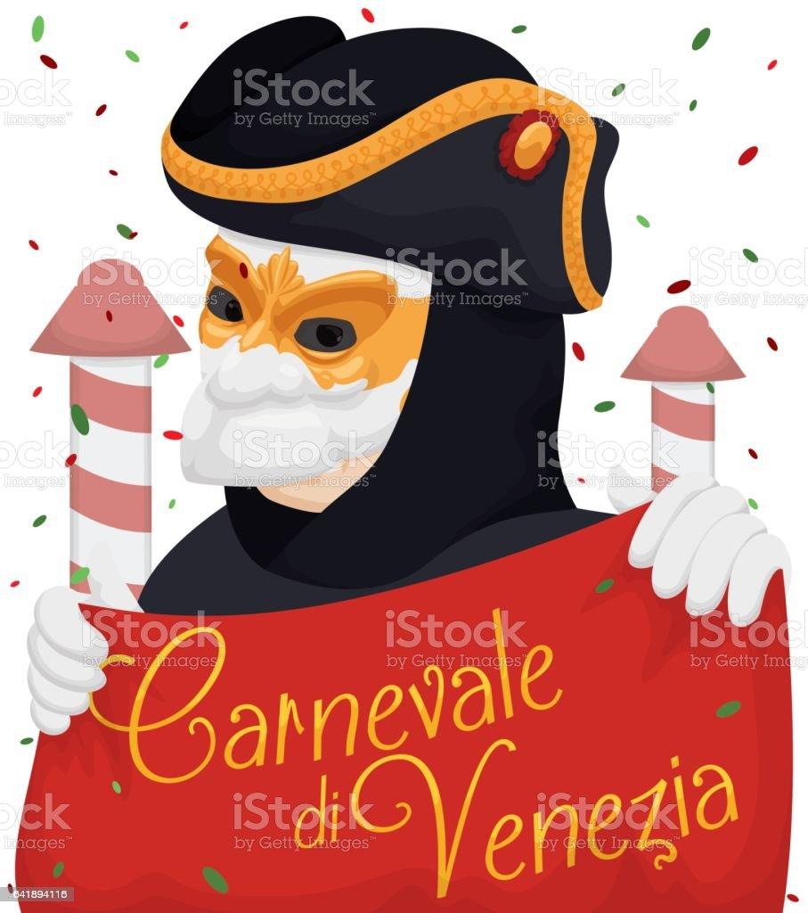 Venetian Man Wearing a Bauta Mask Enjoying the Carnival vector art illustration