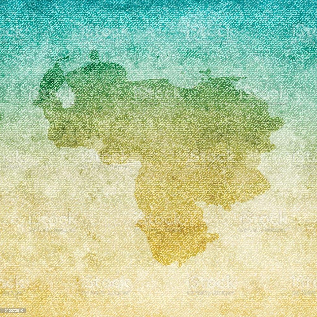 Venezuela Map on grunge Canvas Background vector art illustration