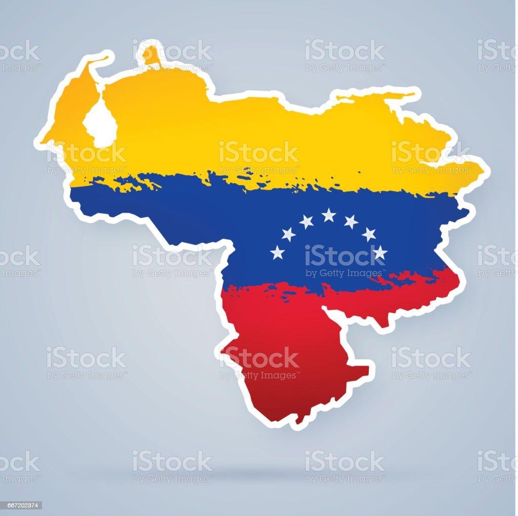 Venezuelan Flag Map vector art illustration