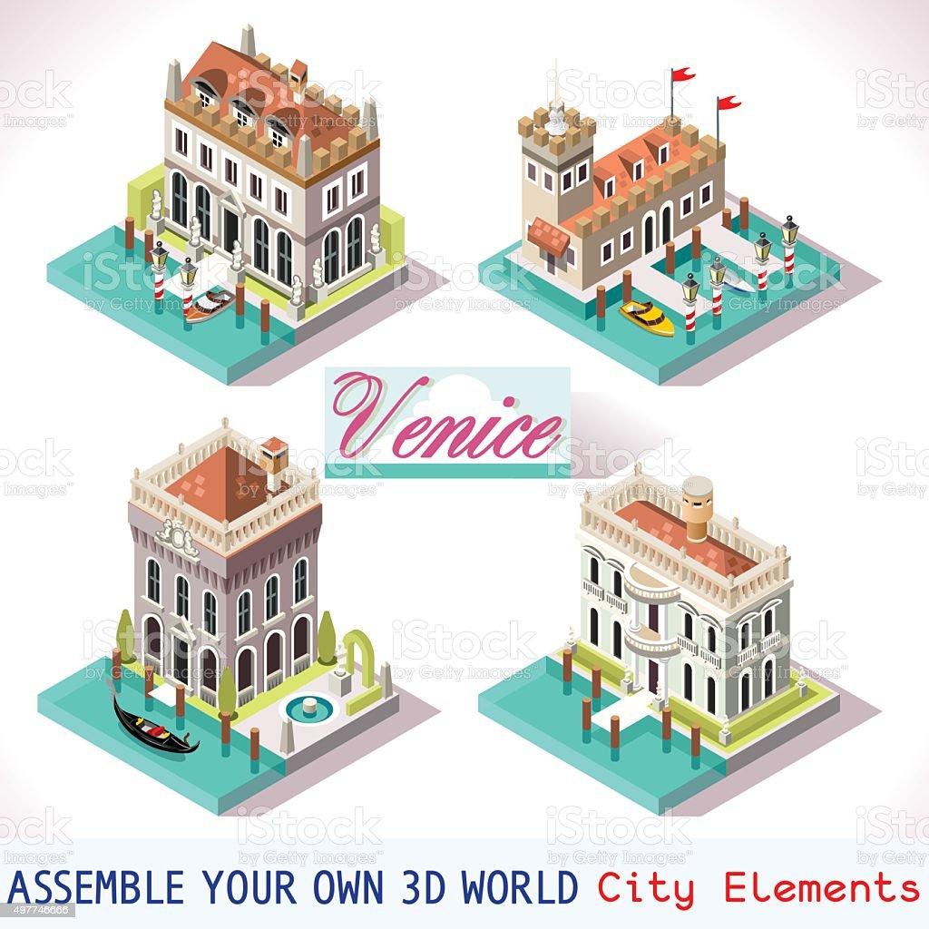 Venice 01 Tiles Isometric vector art illustration
