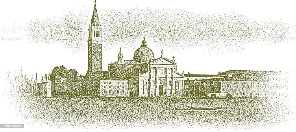 Venice and Gondola vector art illustration