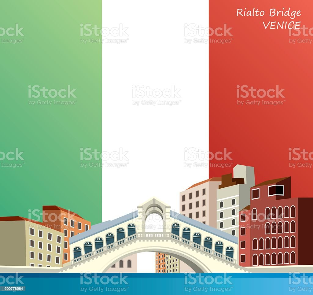 Venice Bridge vector art illustration
