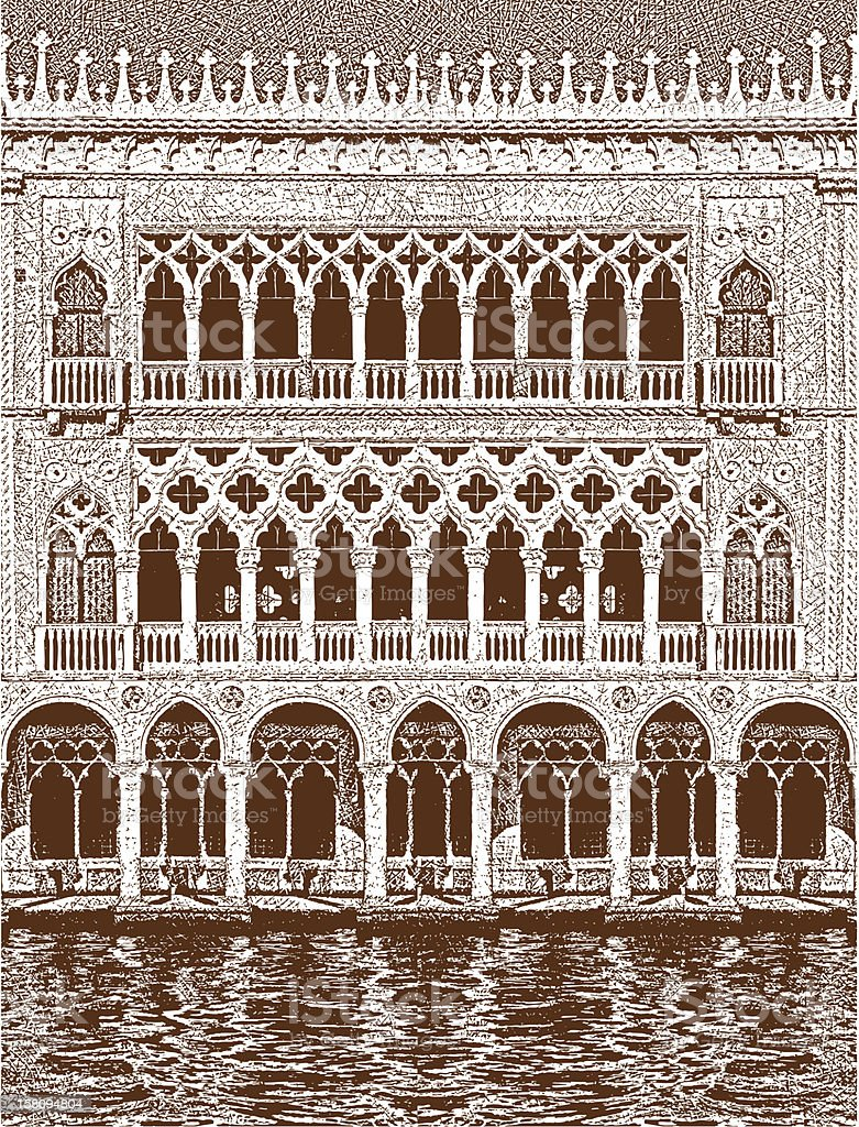 Venice Building Facade vector art illustration