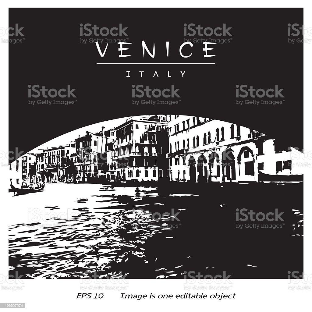 Venice (Italy, Europe) - canal under Rialto Bridge vector art illustration