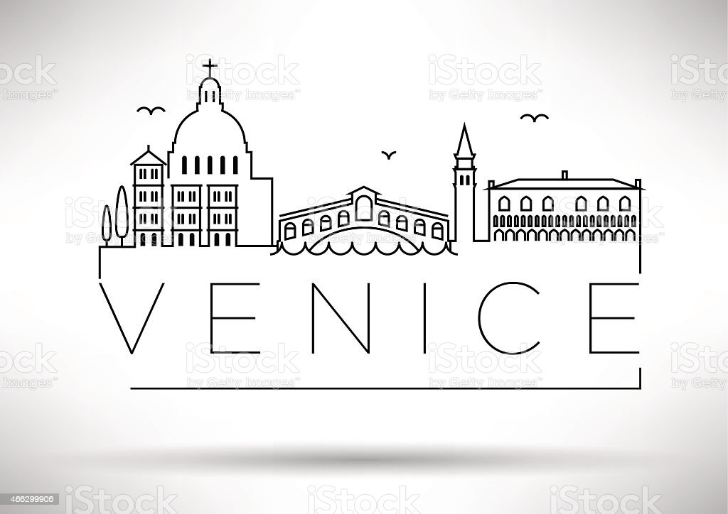 Venice City Line Silhouette Typographic Design vector art illustration