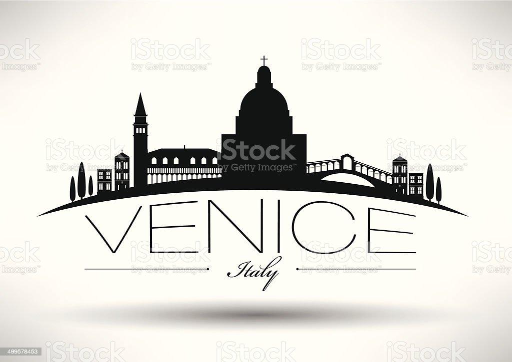 Venice City Skyline with Typographic Design vector art illustration