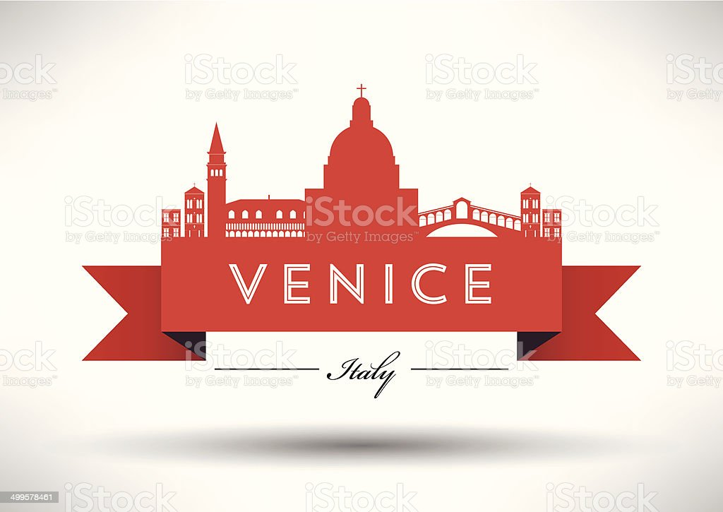 Venice City Skyline with Typographic Design royalty-free stock vector art