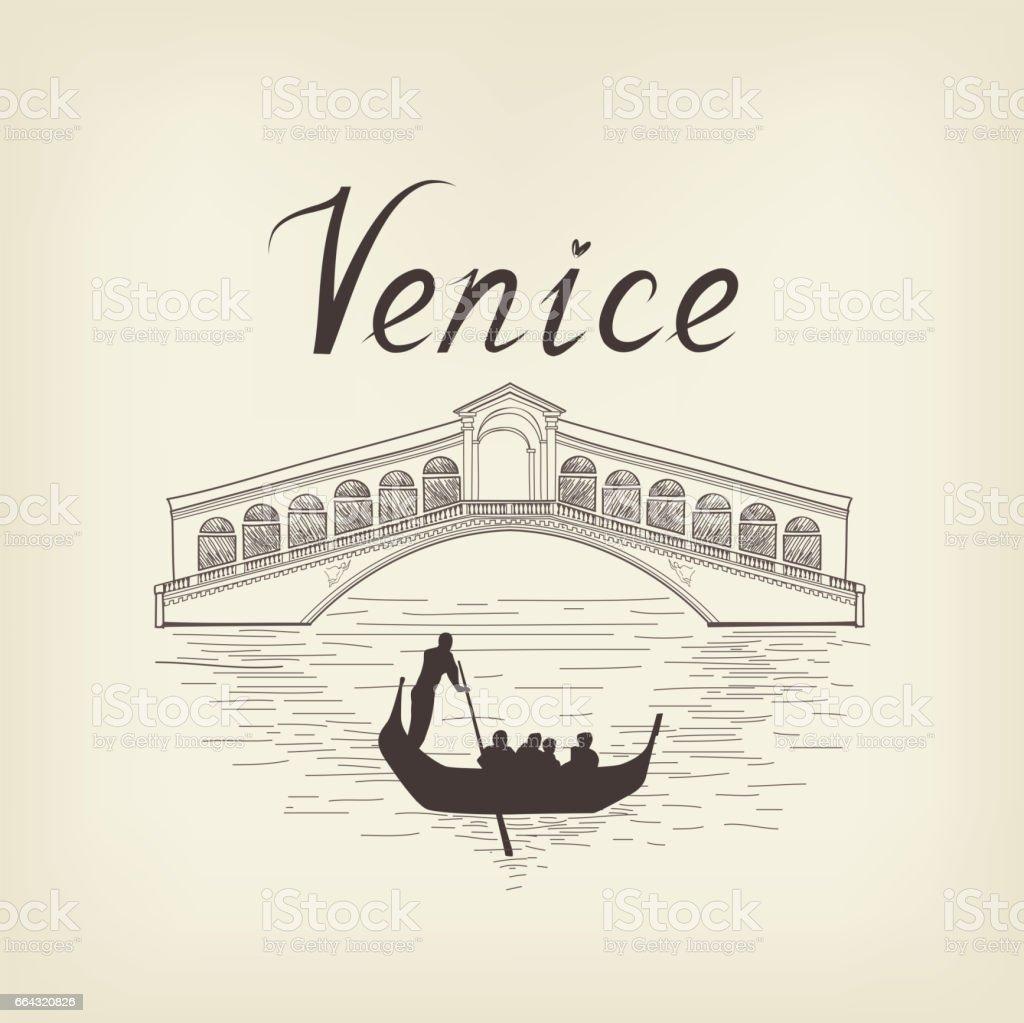 Venice famous place view Travel Italy background. City bridge. vector art illustration