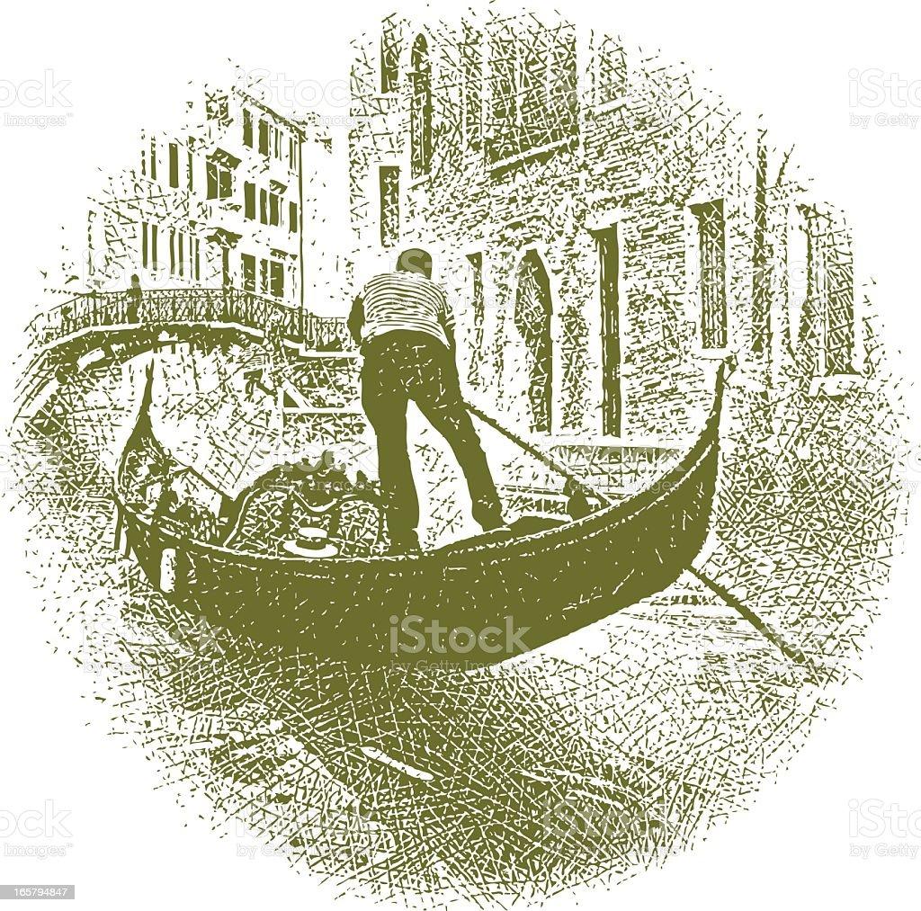 Venice Gondola vector art illustration
