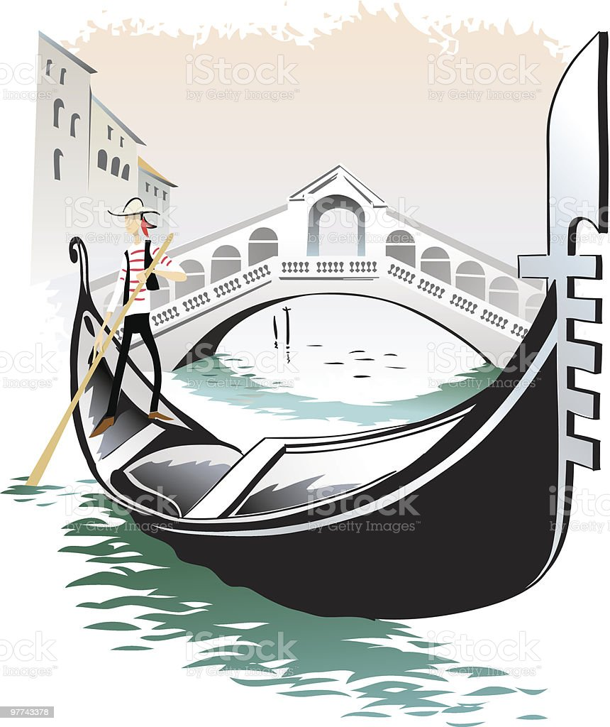 Venice gondolieri vector art illustration