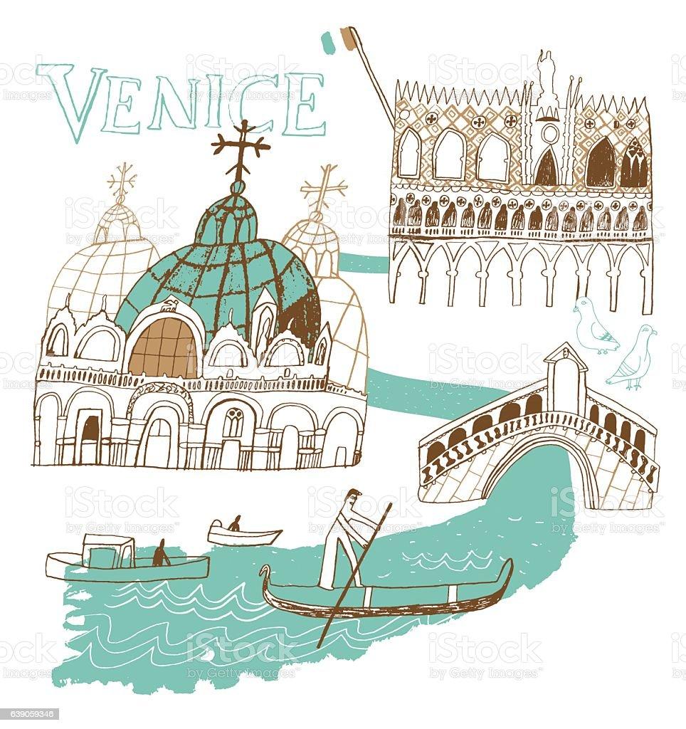 Venice in Italy vector art illustration
