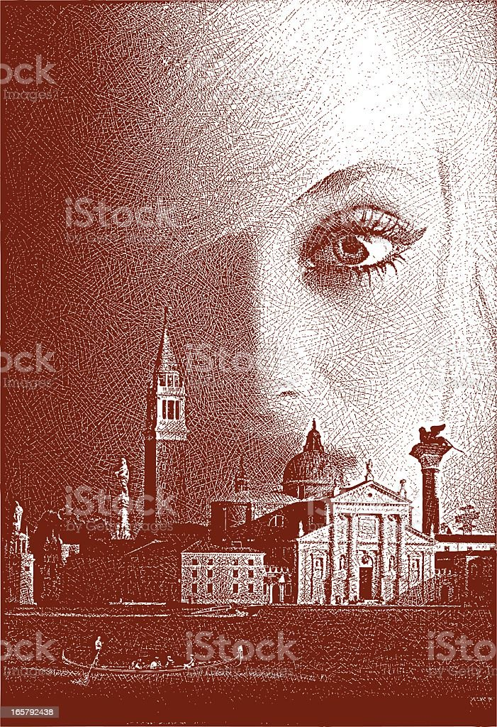 Venice, Italy and Woman vector art illustration