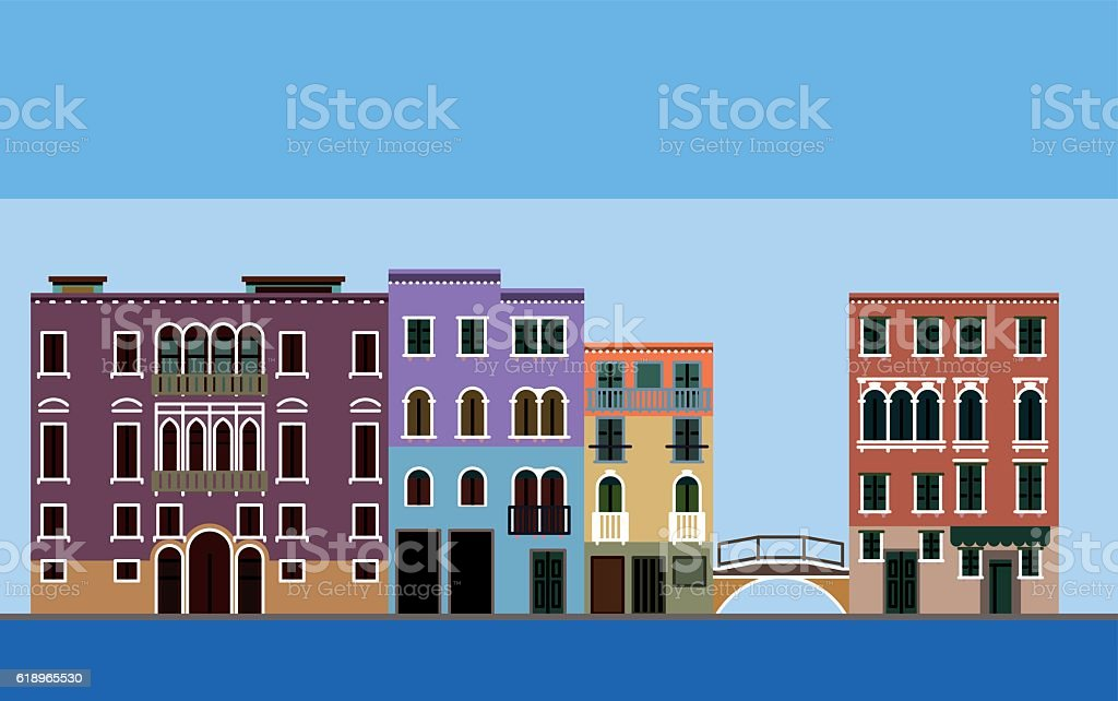 Venice landscape vector art illustration