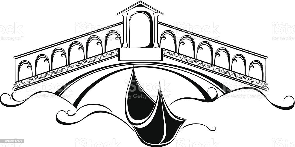 Venice landscape with gondola boat and bridge vector art illustration