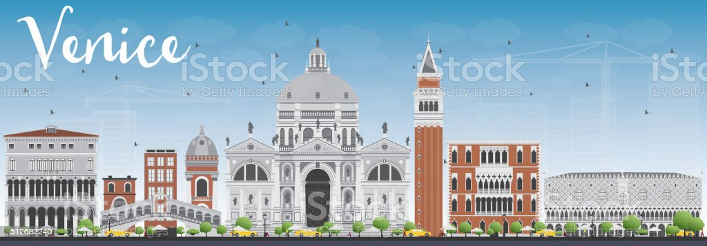 Venice Skyline Silhouette with Gray and Red Buildings. vector art illustration