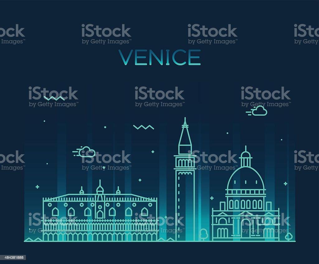 Venice skyline trendy vector illustration linear vector art illustration