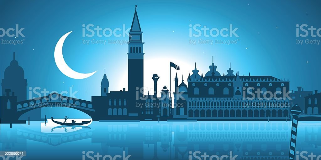 Venice skyline vector art illustration