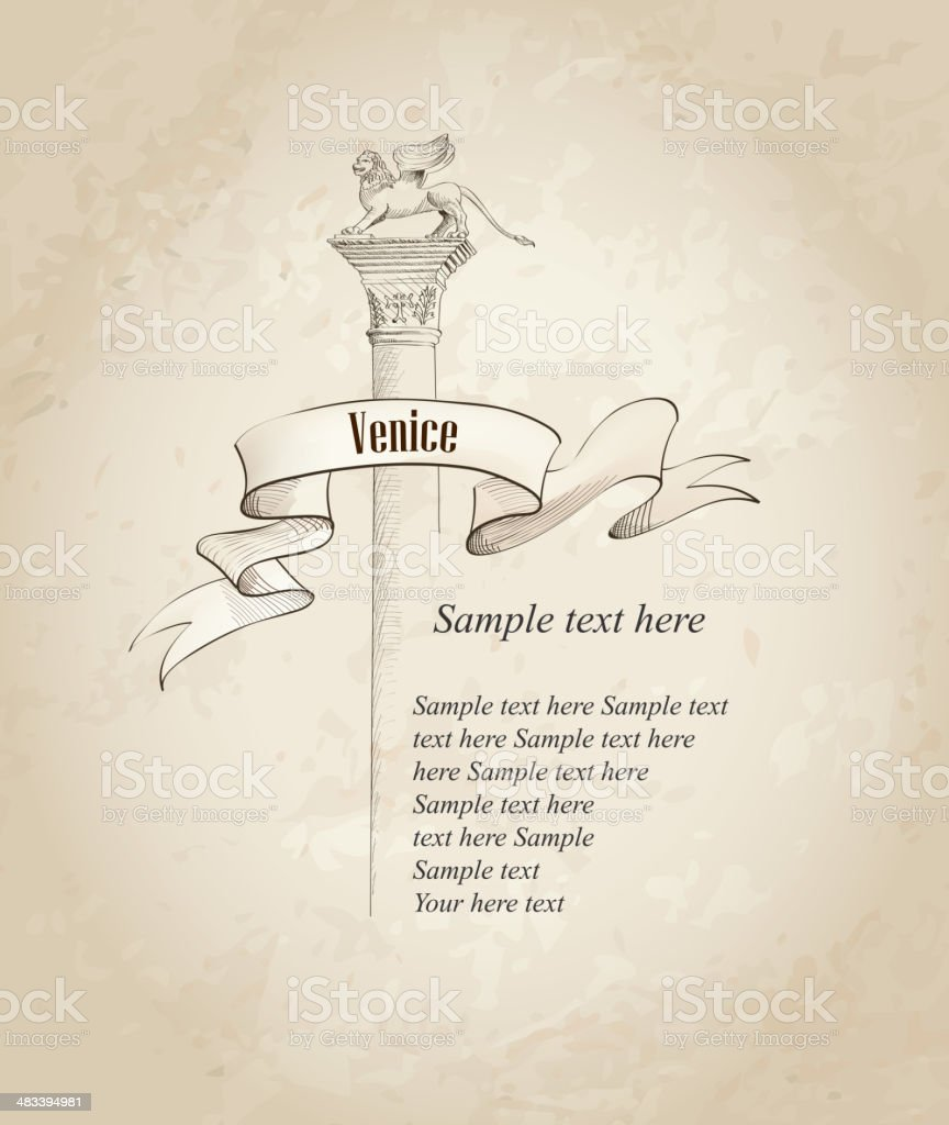 Venice symbol. Travel Italy sketch over old paper background vector art illustration