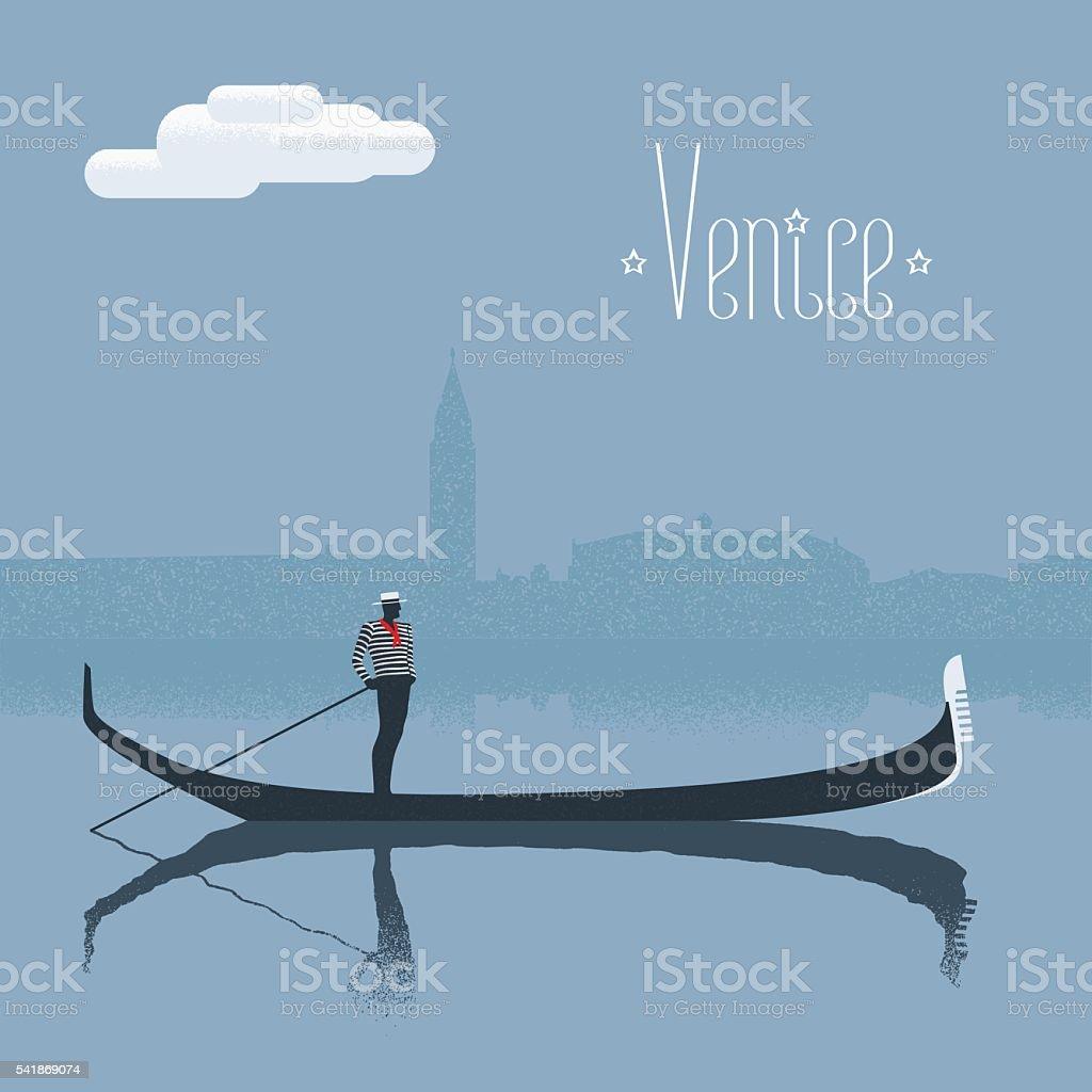 Venice / Venezia skyscrape view with gandolier vector illustration vector art illustration