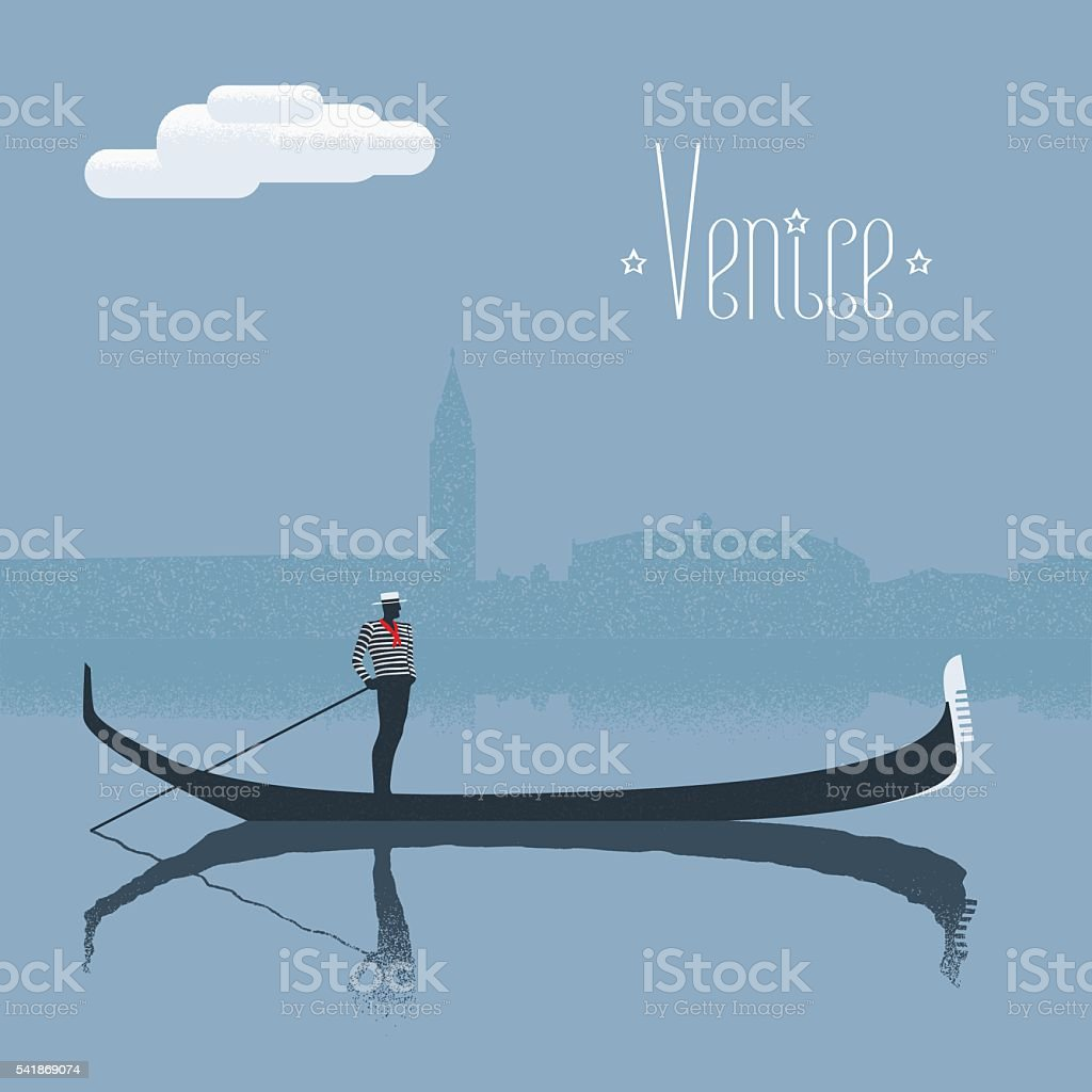 Venice / Venezia skyscrape view with gandolier vector illustration vector art illustration