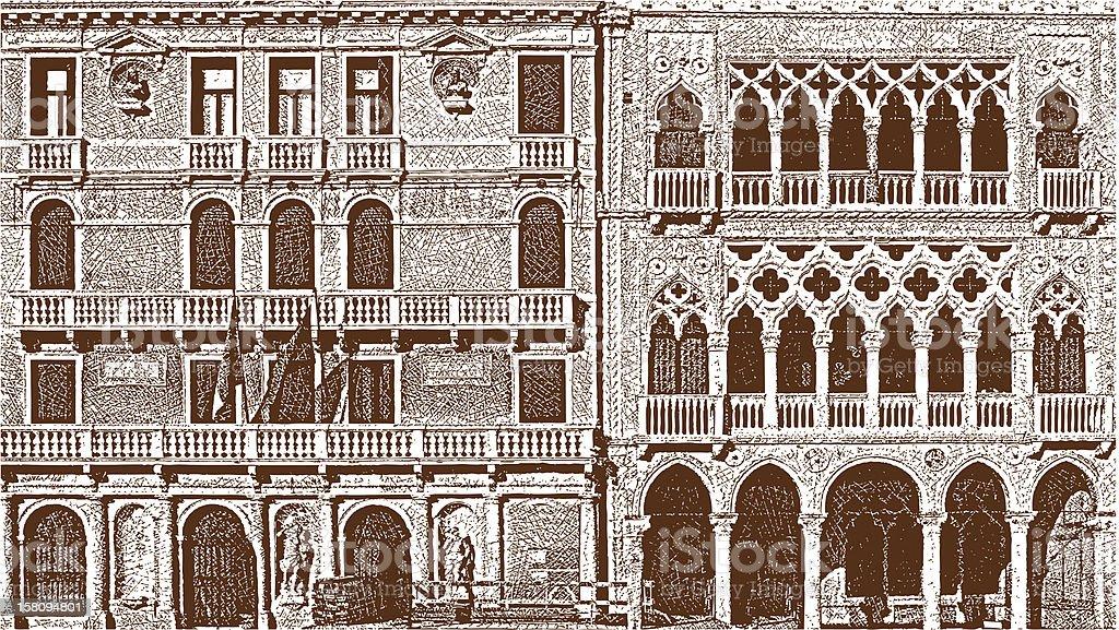 Venice Windows vector art illustration