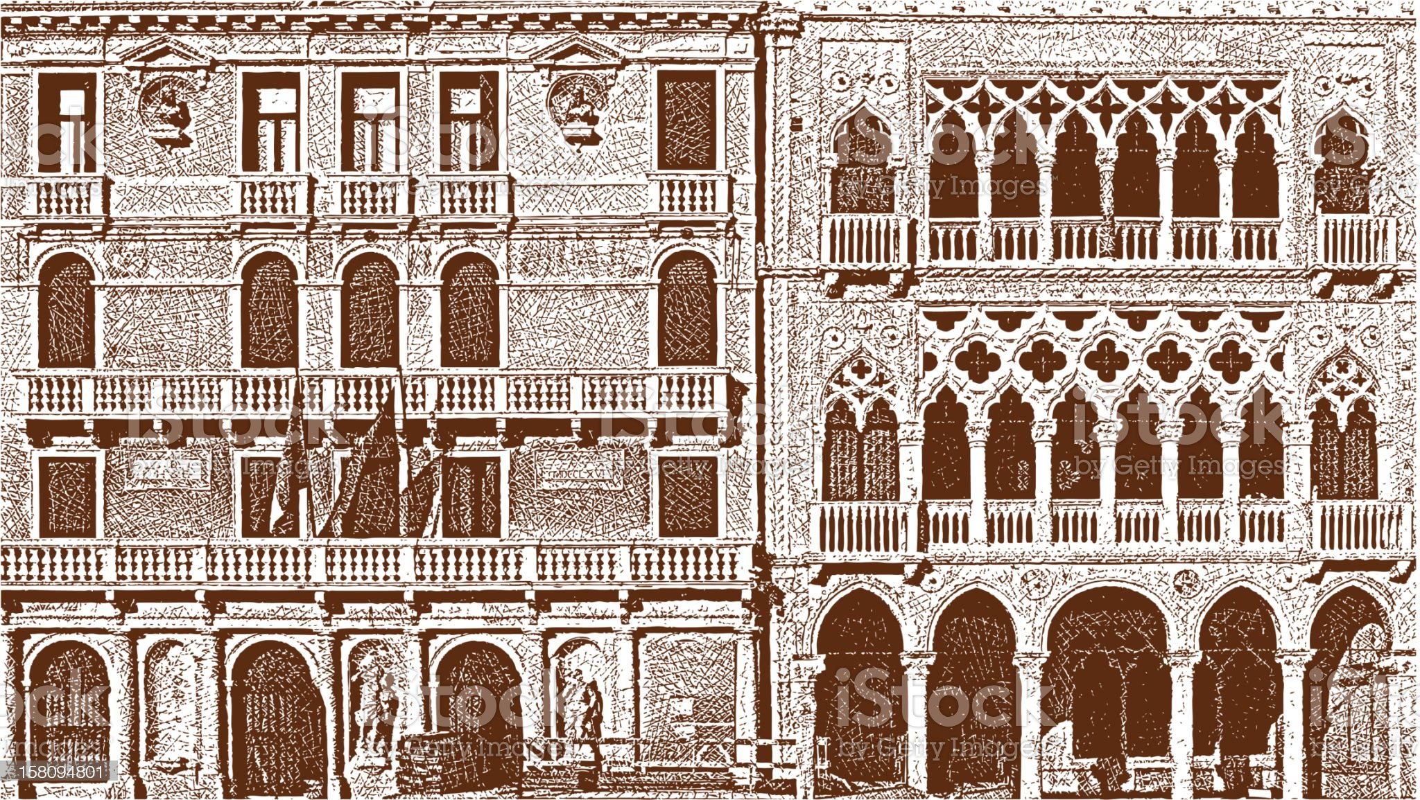 Venice Windows royalty-free stock vector art
