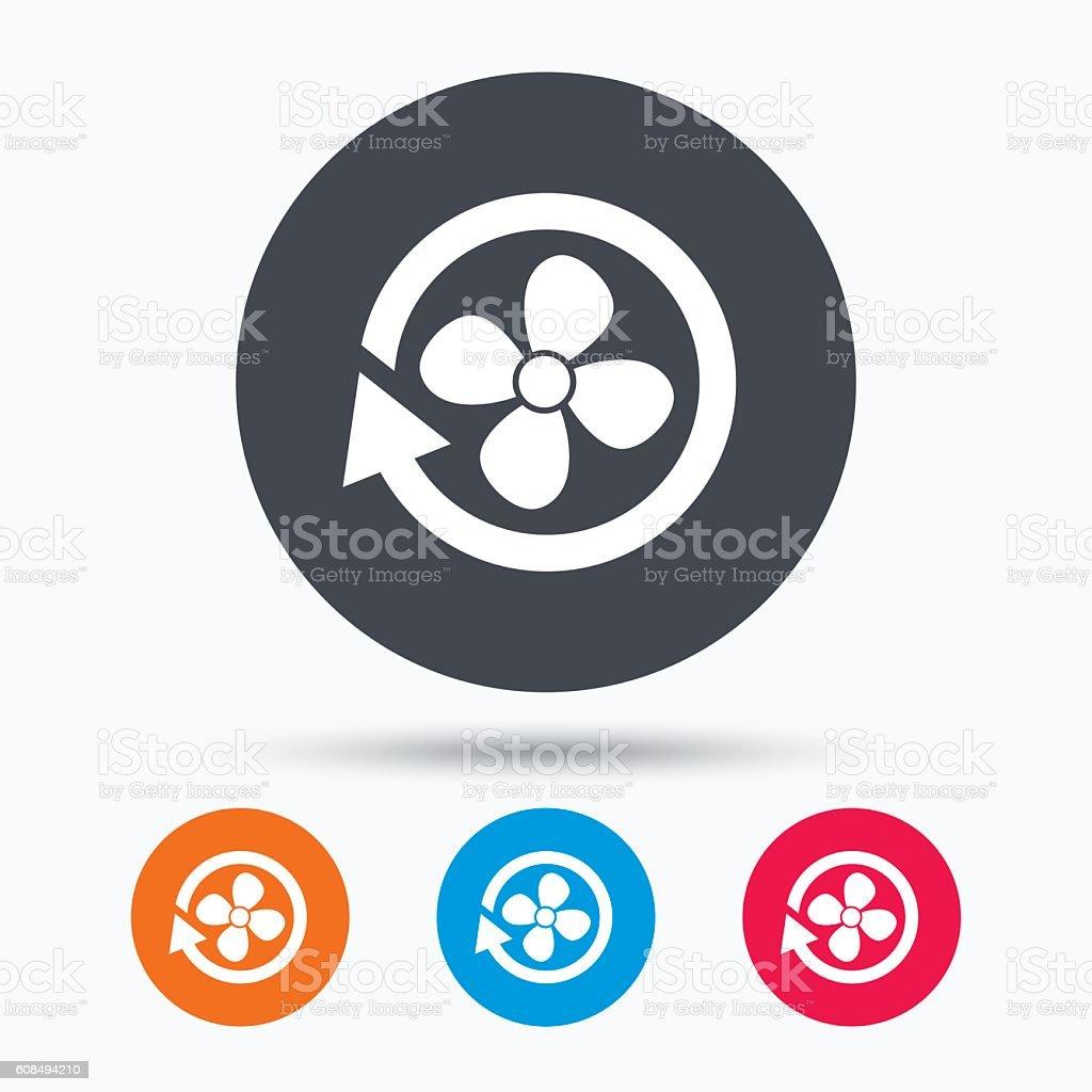 Ventilation icon. Air ventilator or fan sign. vector art illustration