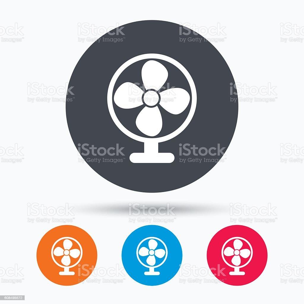 Ventilator icon. Air ventilation or fan sign. vector art illustration