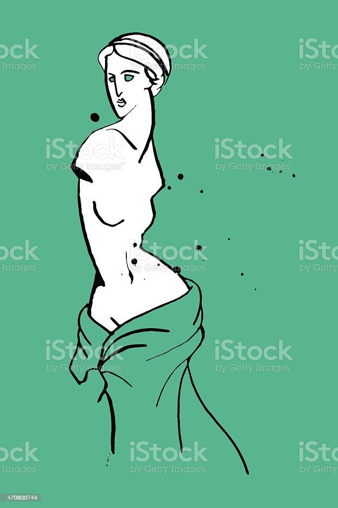 Venus caricature vector art illustration