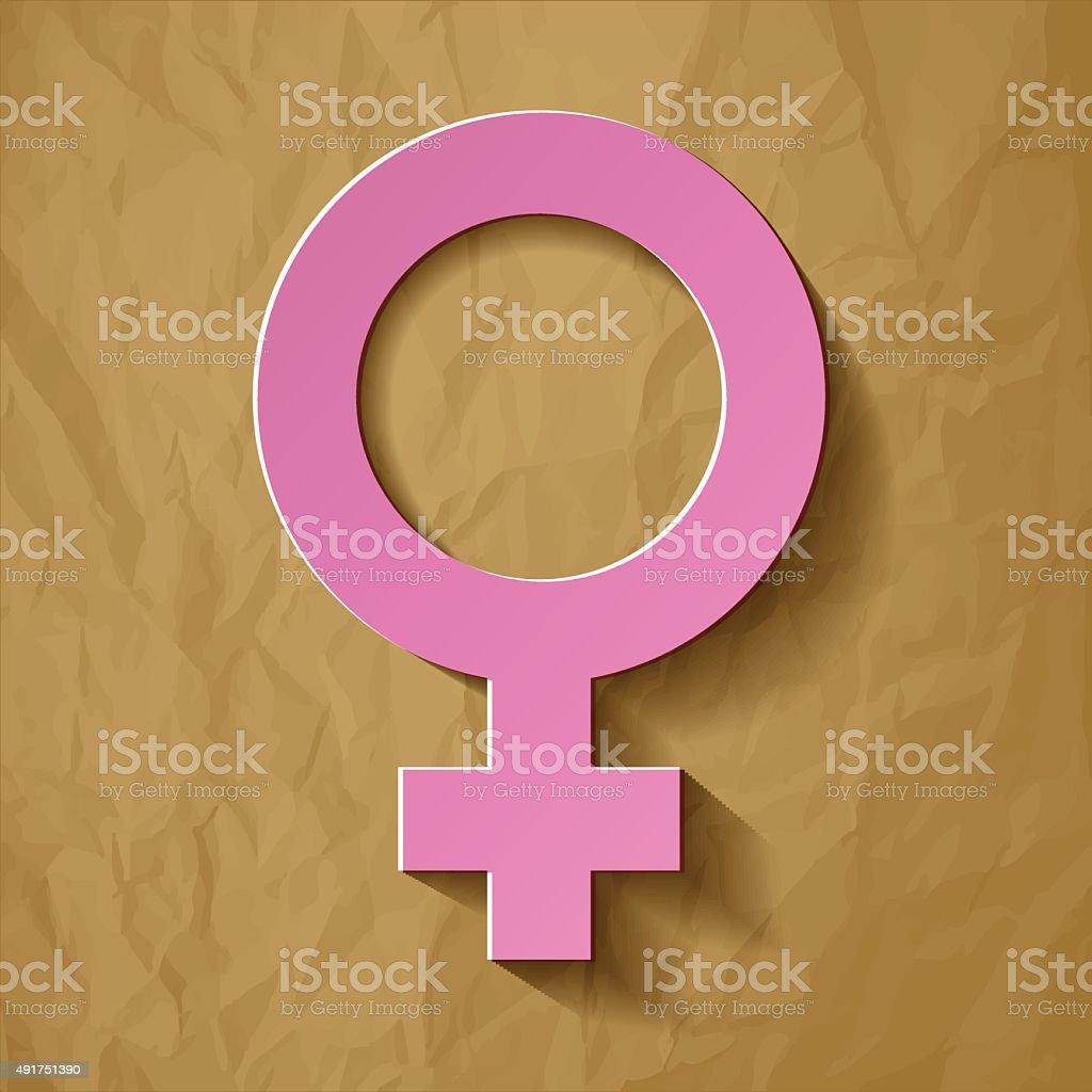 Venus symbol pink on a crumpled paper brown background. vector art illustration