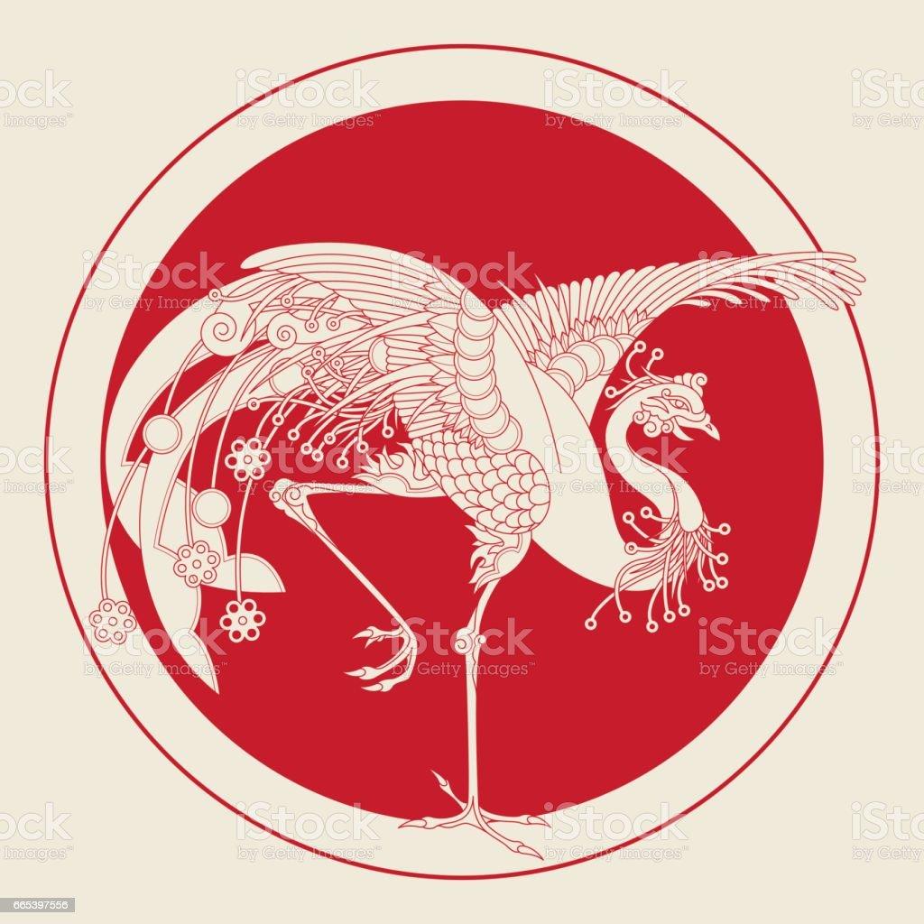 Vermilion Bird of the South (Medallion) vector art illustration