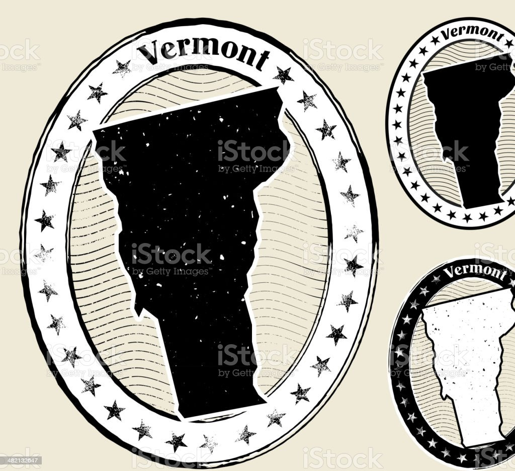 Vermont Grunge Map Black & White Stamp Collection vector art illustration