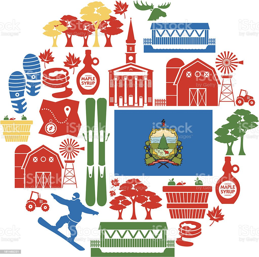 Vermont Icon Set royalty-free stock vector art
