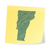 Vermont map on sticky note with scribble effect
