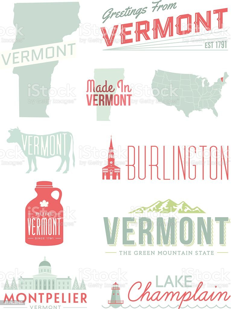 Vermont Typography vector art illustration