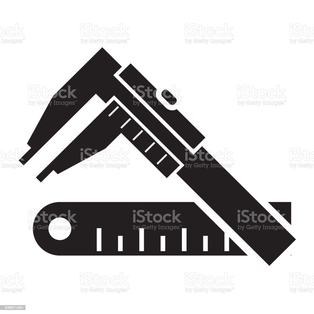 vernier calipers and ruler vector art illustration
