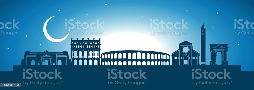 Verona skyline vector art illustration