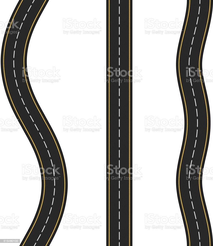 Vertcal Seamless Roads vector art illustration