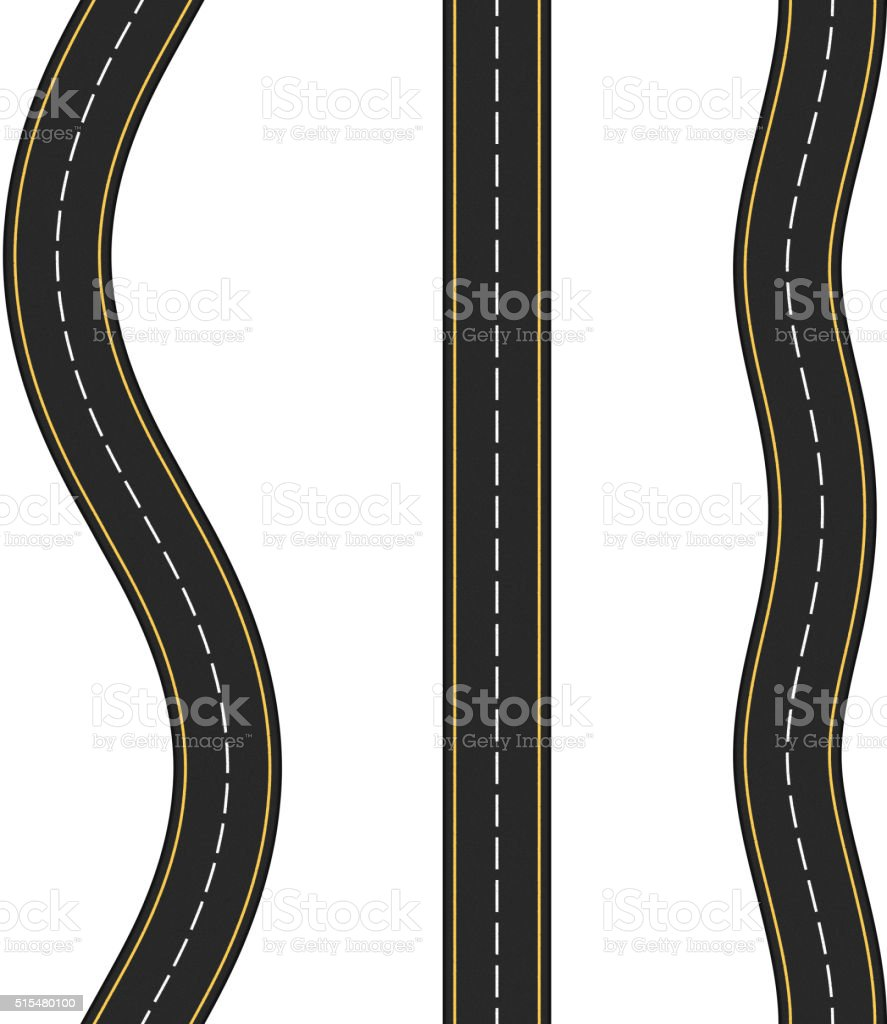 Vertcal Seamless Roads vector art illustration
