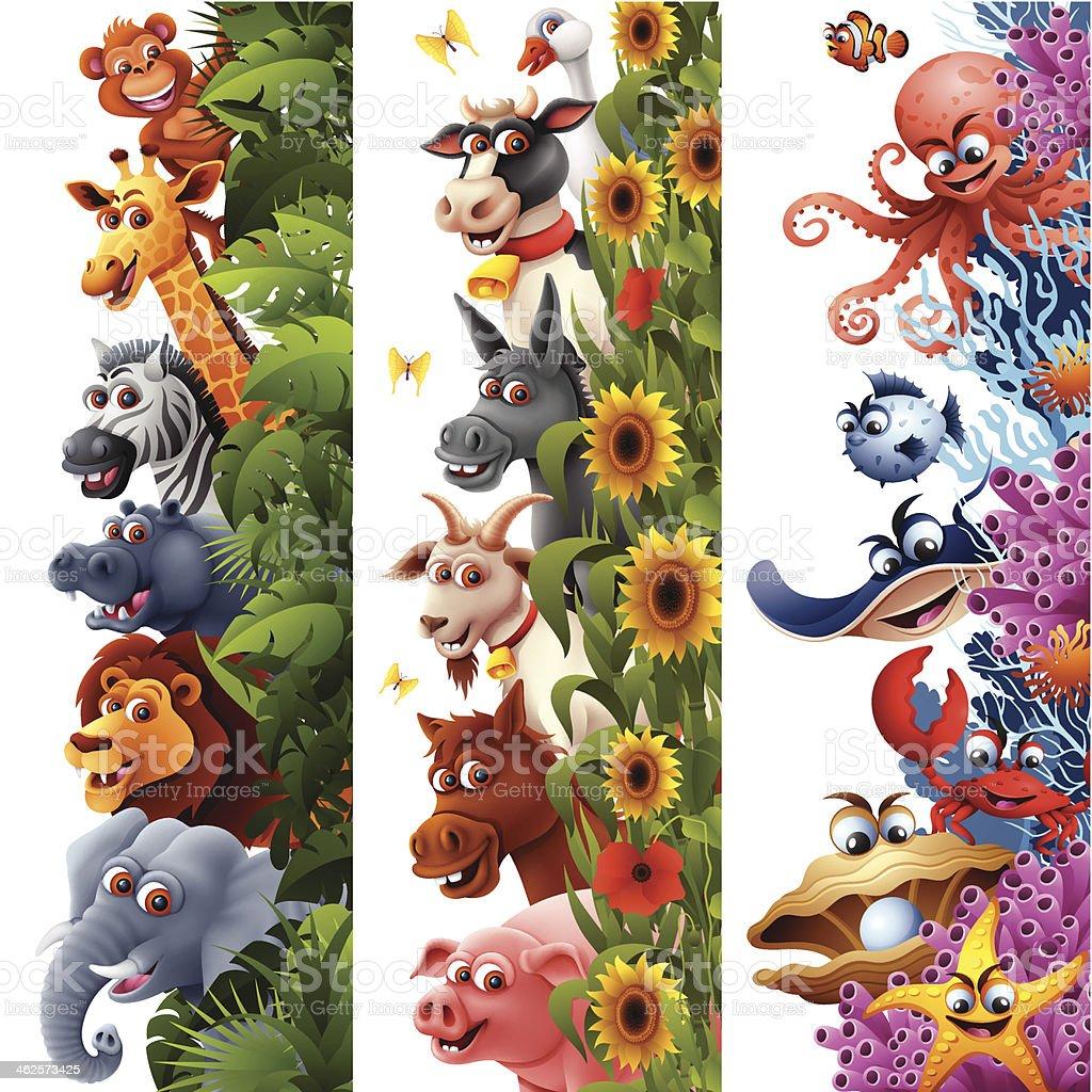 Vertical Animal Banners vector art illustration