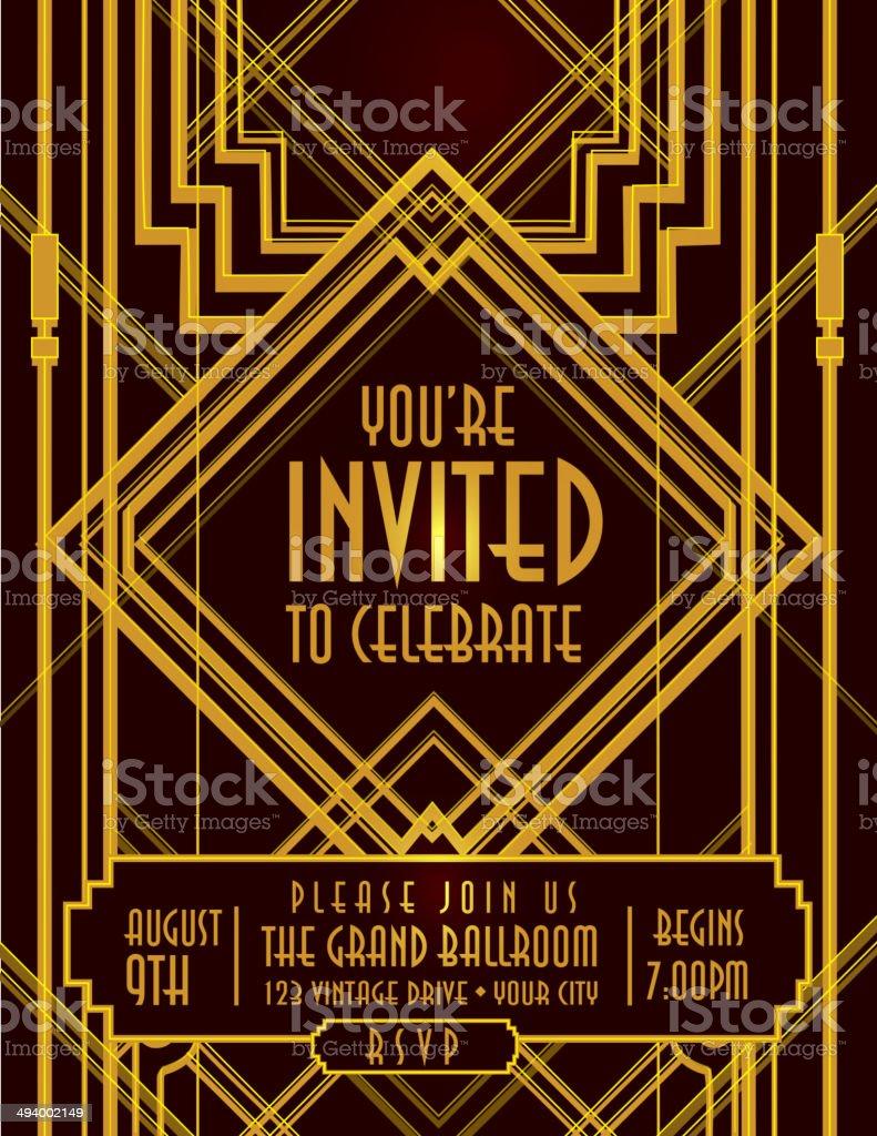 Vertical Art Deco style vintage invitation design template vector art illustration