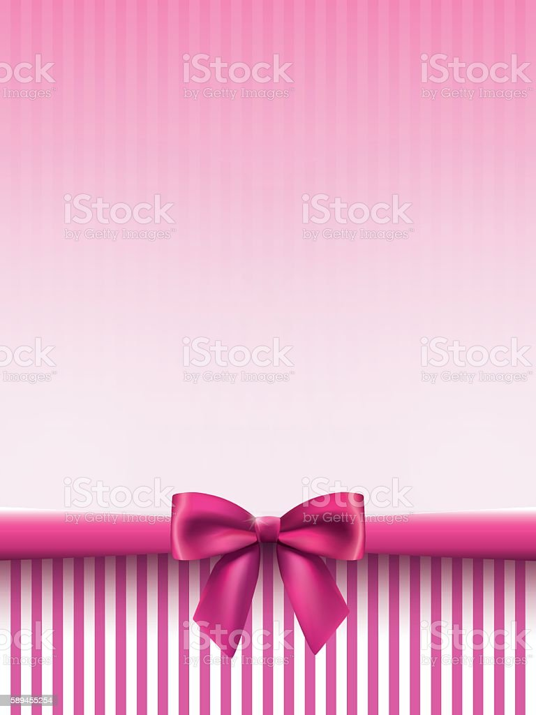Vertical background with a satin bow in pink colors vector art illustration