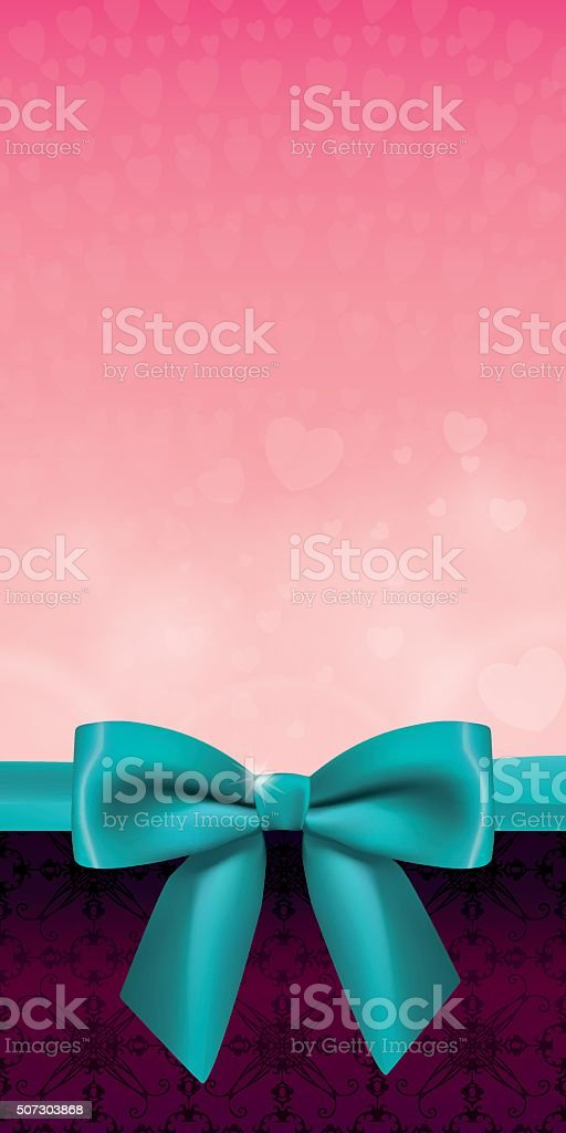 Vertical background with a satin bow vector art illustration
