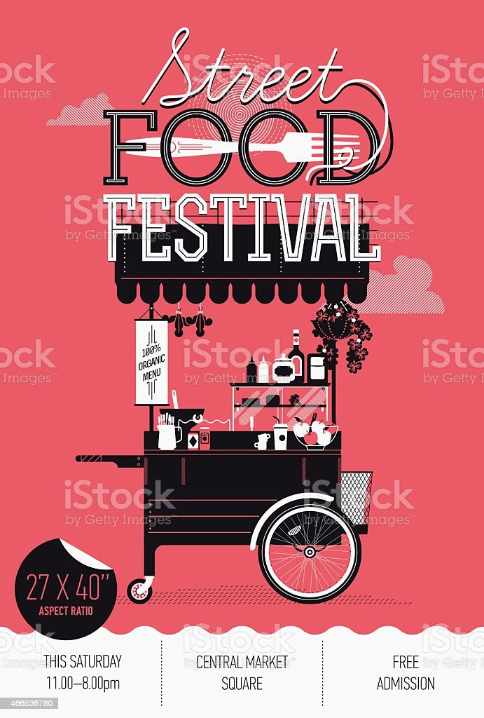 Vertical banner design on Street food festival event vector art illustration