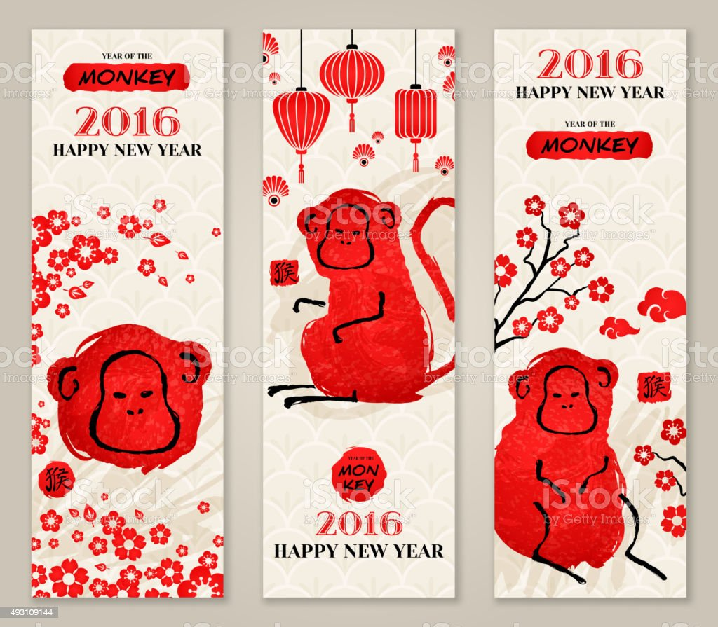 Vertical Banners Set with Hand Drawn Chinese New Year Monkeys. vector art illustration