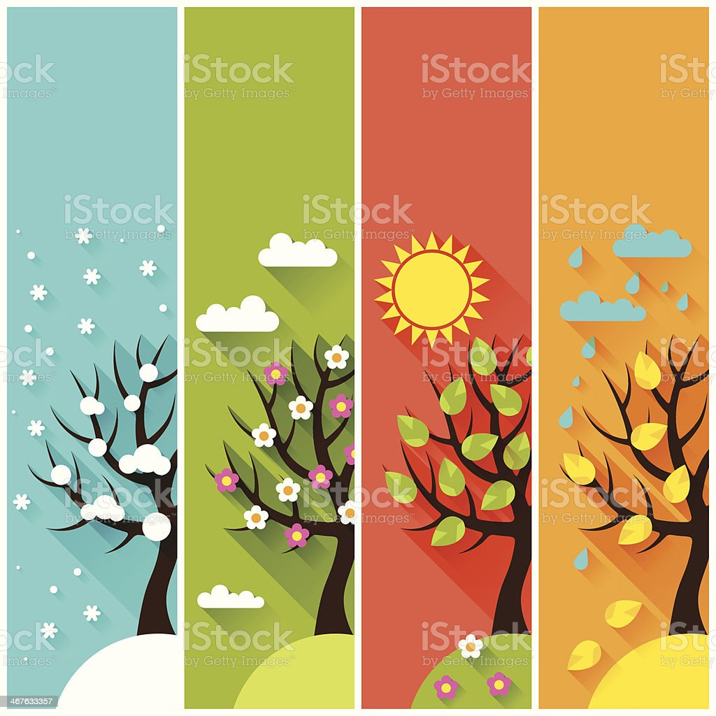 Vertical banners with winter, spring, summer, autumn trees. vector art illustration