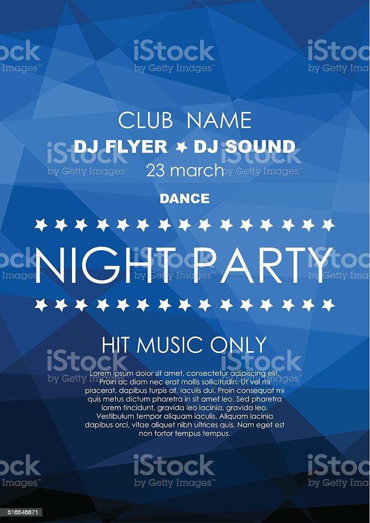 Vertical blue mosaic music party background. vector art illustration