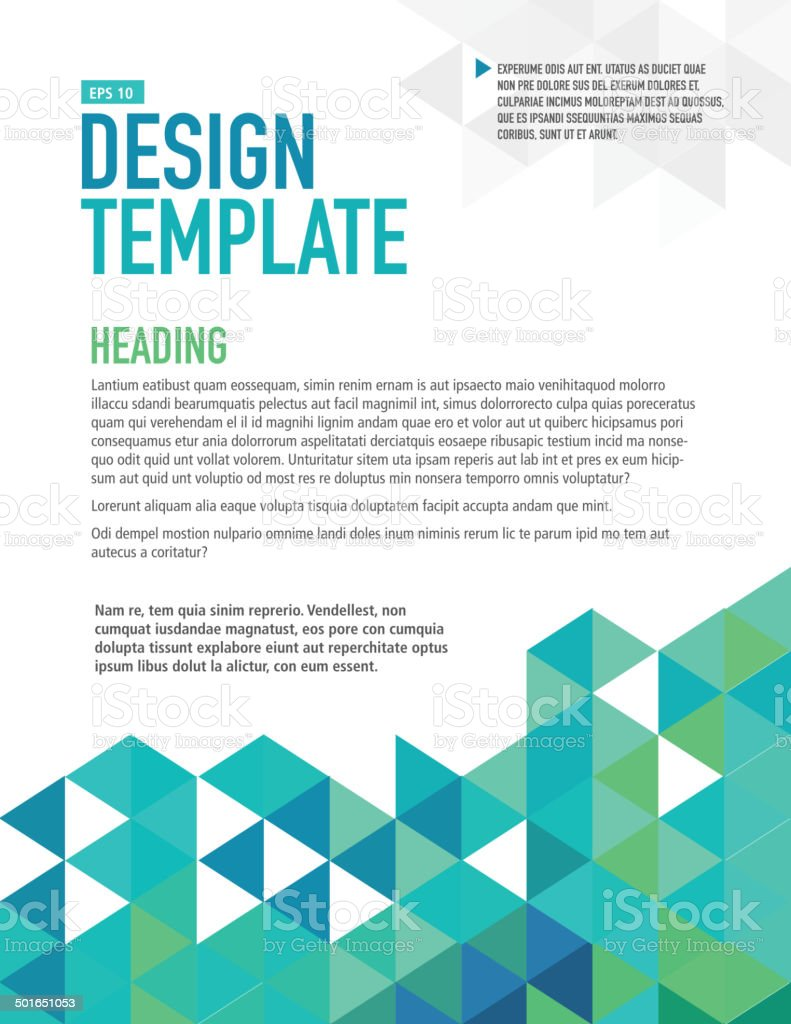 Vertical blue presentation template with sample text layout vector art illustration