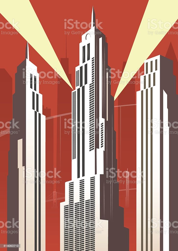 Vertical cartoon city vector art illustration
